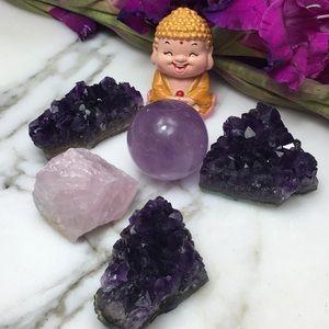 Amethyst Rose Quartz LOVE PEACE Bundle 5 Pieces